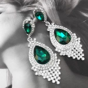 Emerald Green Crystal Chandelier Event Earrings